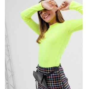 New Look rib roll neck in neon yellow